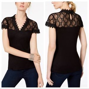 INC Black Lace Short Sleeve Top Keyhole Back